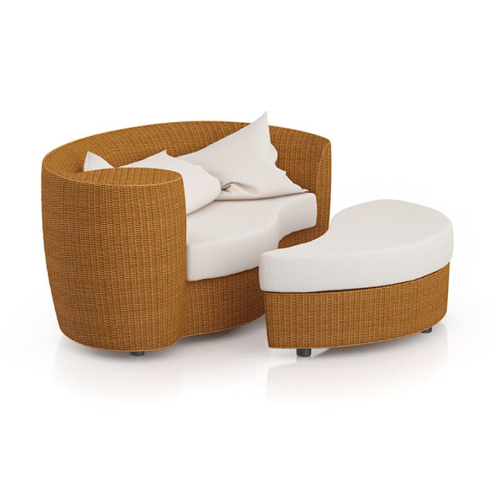 Wicker Sofa with Footrest