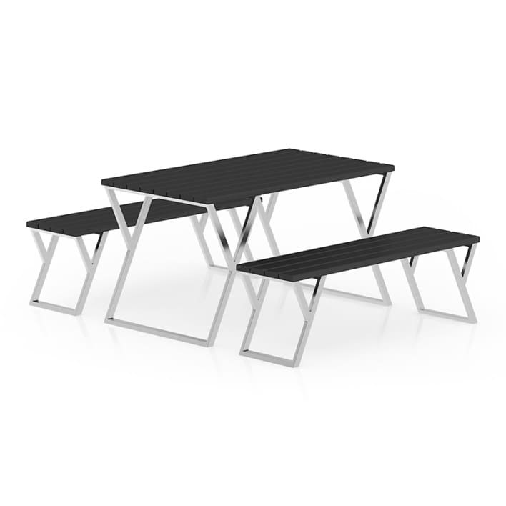 Black Table and Benches