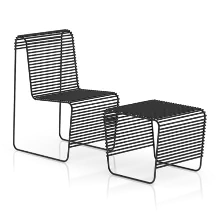 Black Wire Chair with Footrest