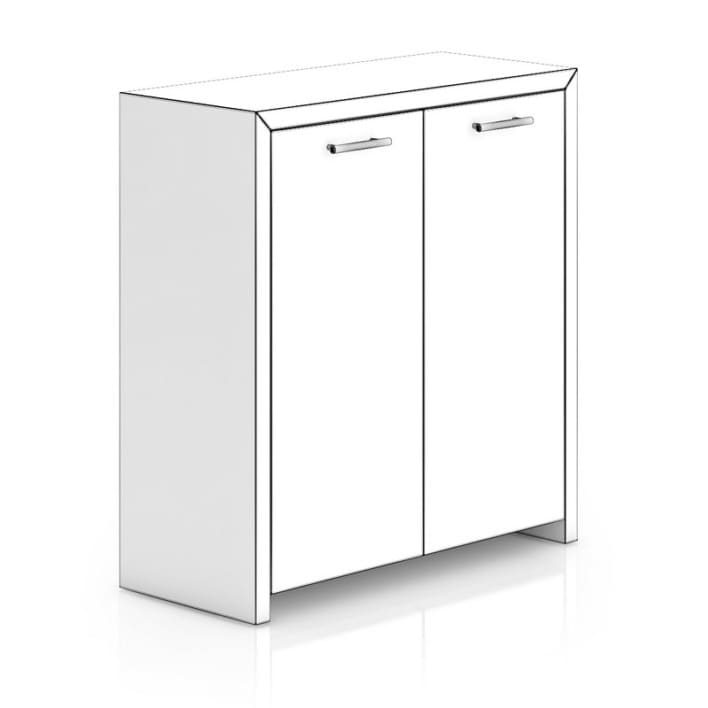 Black Wood Cabinet with Doors