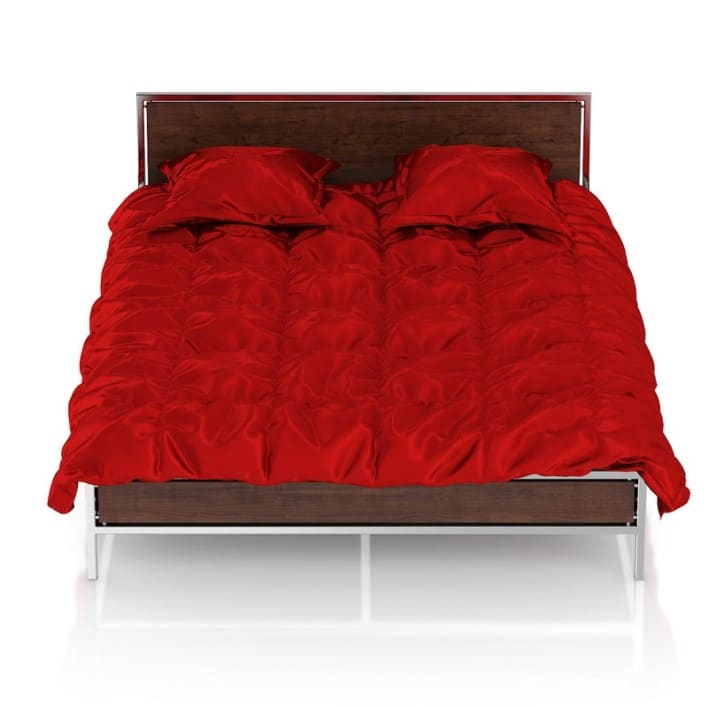 Wooden Bed with Red Bedclothes
