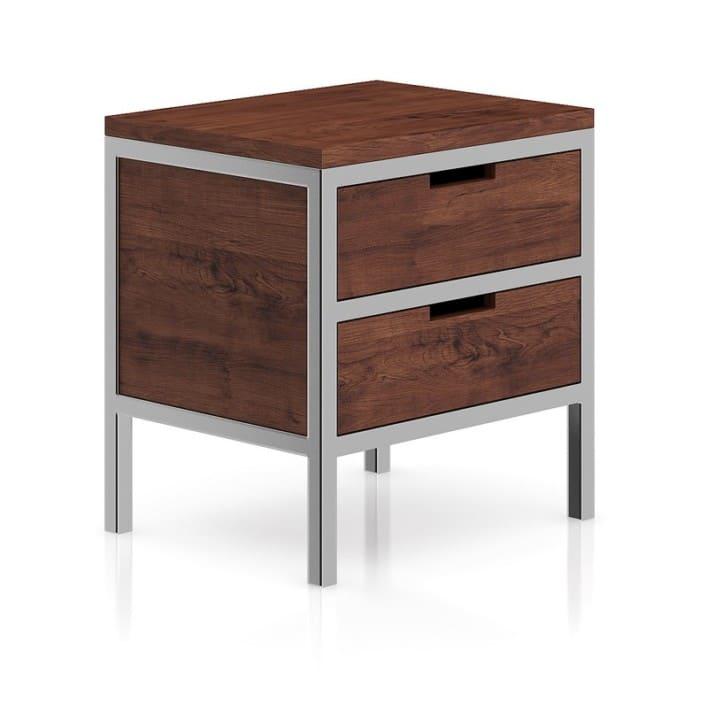 Wooden Bedside Cabinet with Metal Frame