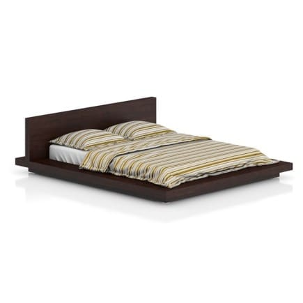Wooden Bed with Stripped Bedclothes