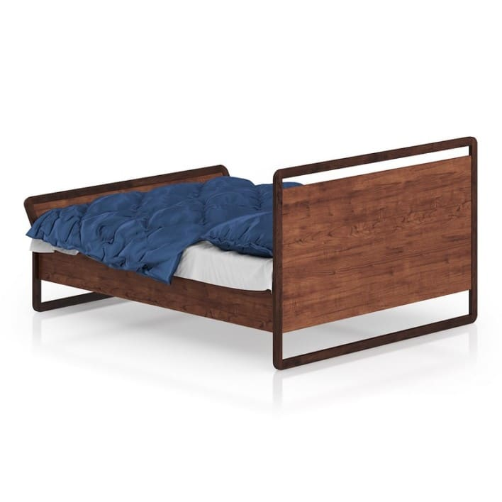 Modern Wooden Bed with Blue Bedclothes