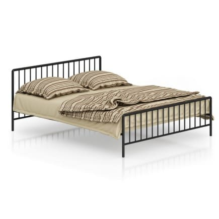 Metal Bed with Striped Bedclothes