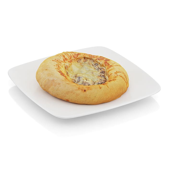 Bread with mushrooms and cheese