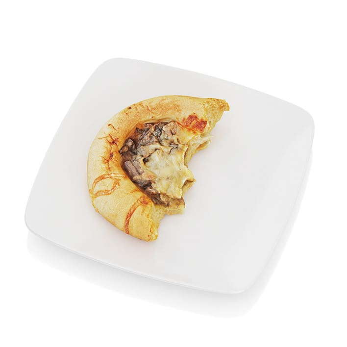 Bitten bread with mushrooms and cheese