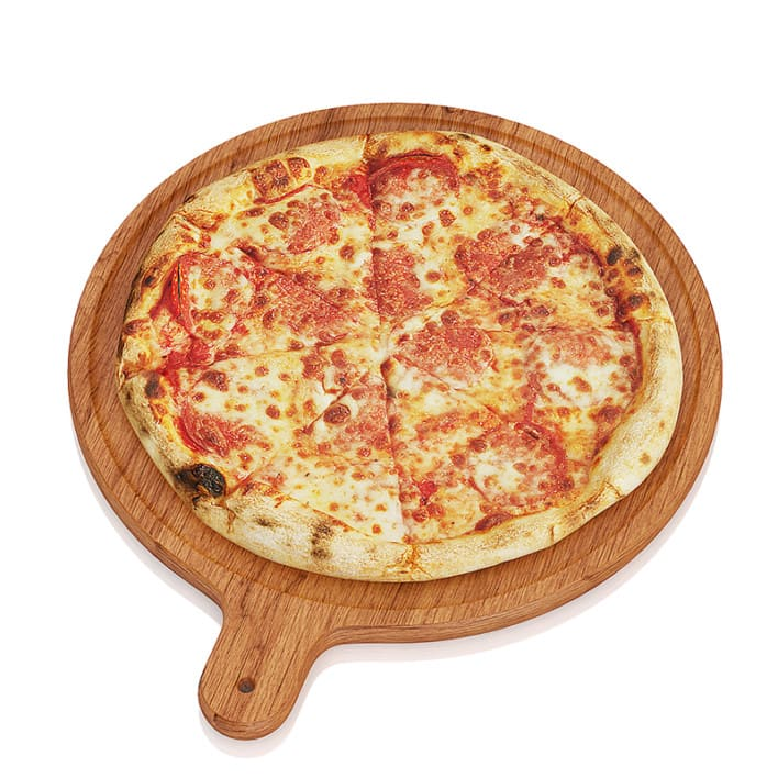 Pizza on wooden board