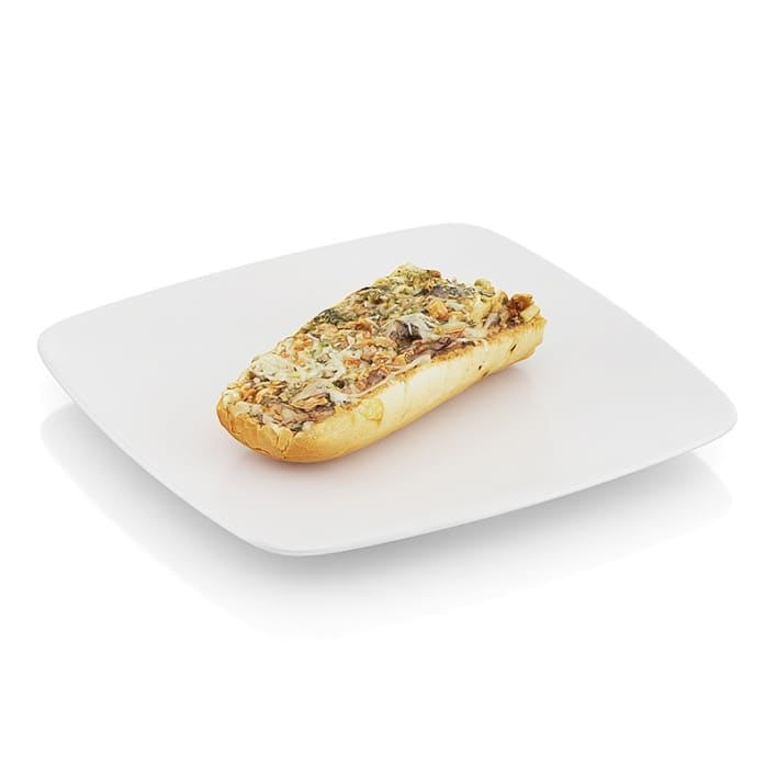 Baguette baked with mushrooms
