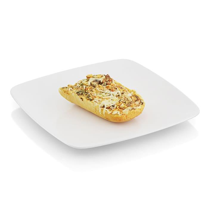 Bitten baguette baked with mushrooms