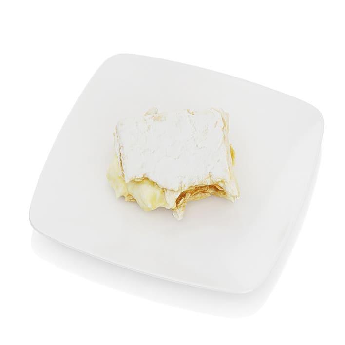 Half-eaten piece of cream pie