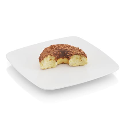 Bitten donut with chocolate