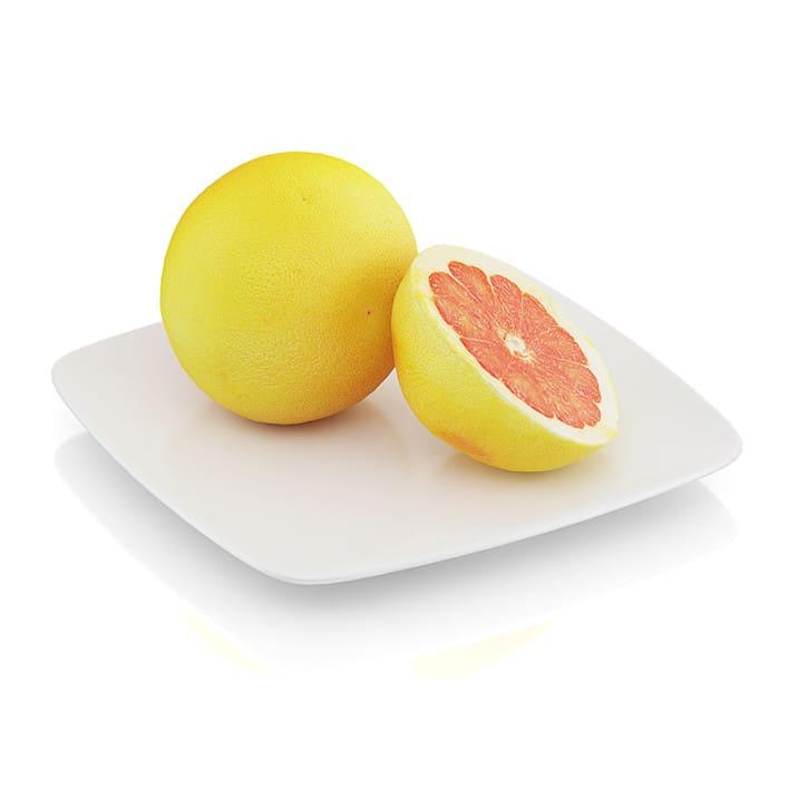 Halved grapefruit