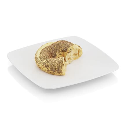Bitten bagel with poppy seeds