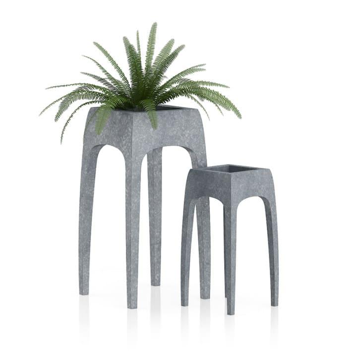 Fern in Metal Standing Pot