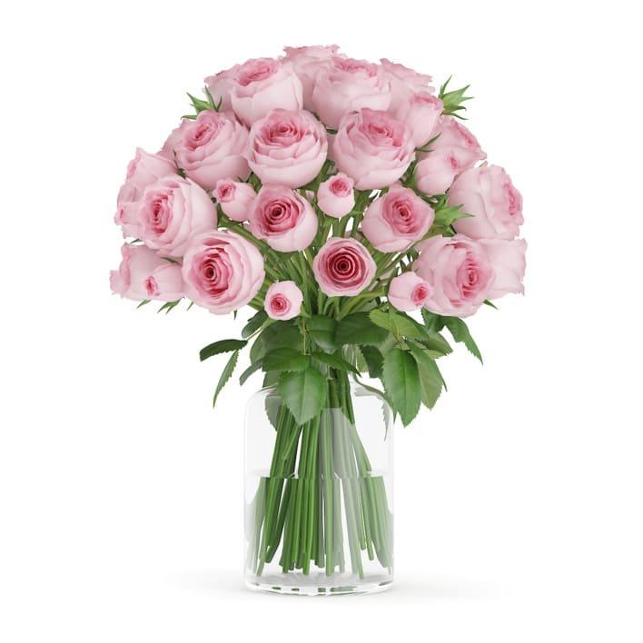 3d Pink Roses in Glass Vase