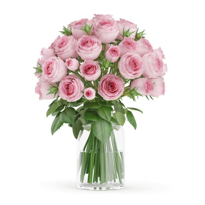 3d3d Pink Roses in Glass Vase