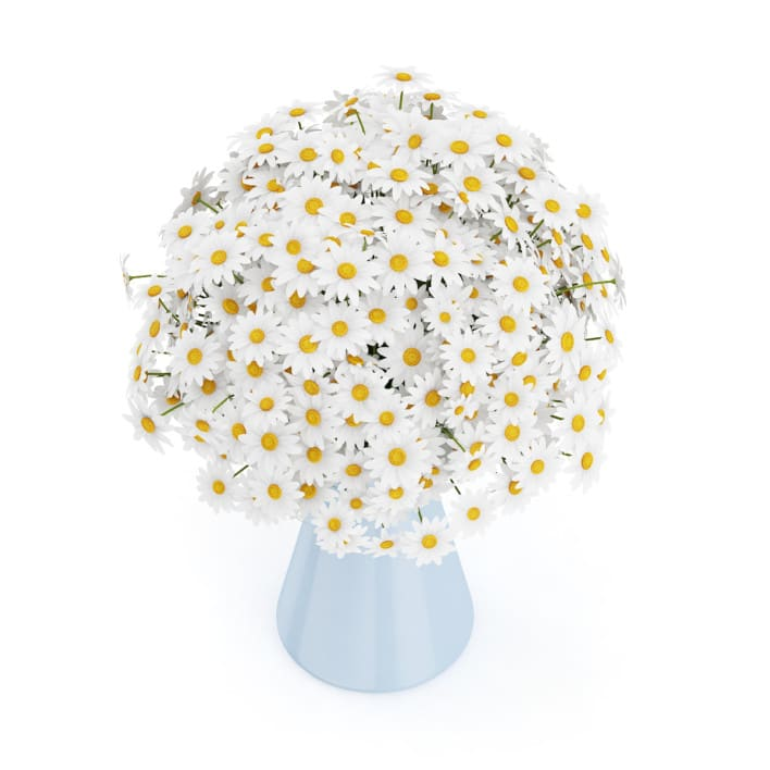 3d Small Daisies in Blue Vase