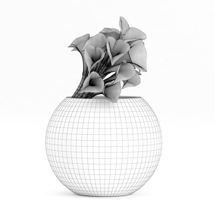 3d Calla Lilies in Spherical Vase