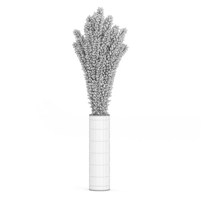 3d Violet Lupine in Glass Vase