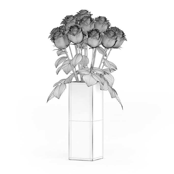 3d Red Roses in Glass Vase