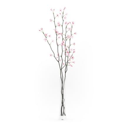 3d Flowering Tree Twigs in Glass Vase