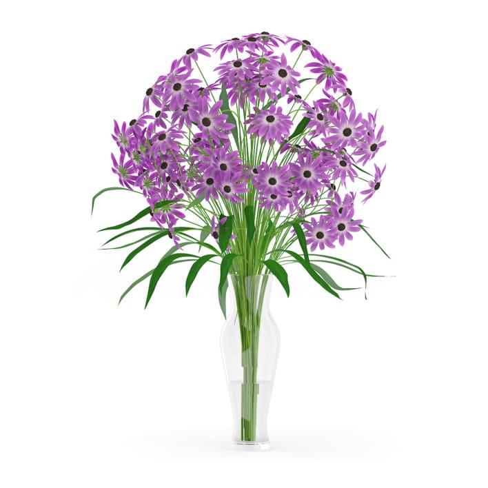 3d Purple Flowers in Glass Vase