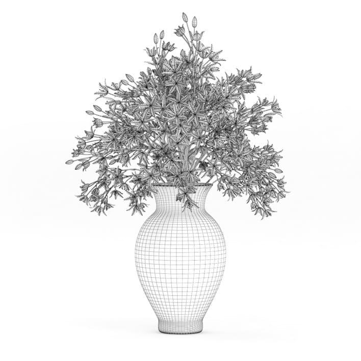 3d Blue Flowers in Ceramic Vase
