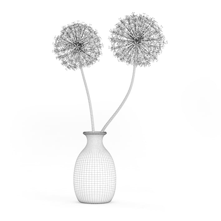 3d Small Purple Flowers in White Vase