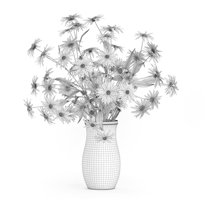 3d Coneflowers in Ceramic Vase