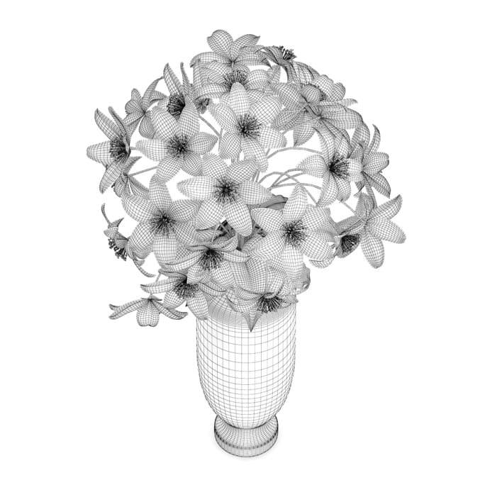3d White Flowers in Tall Vase