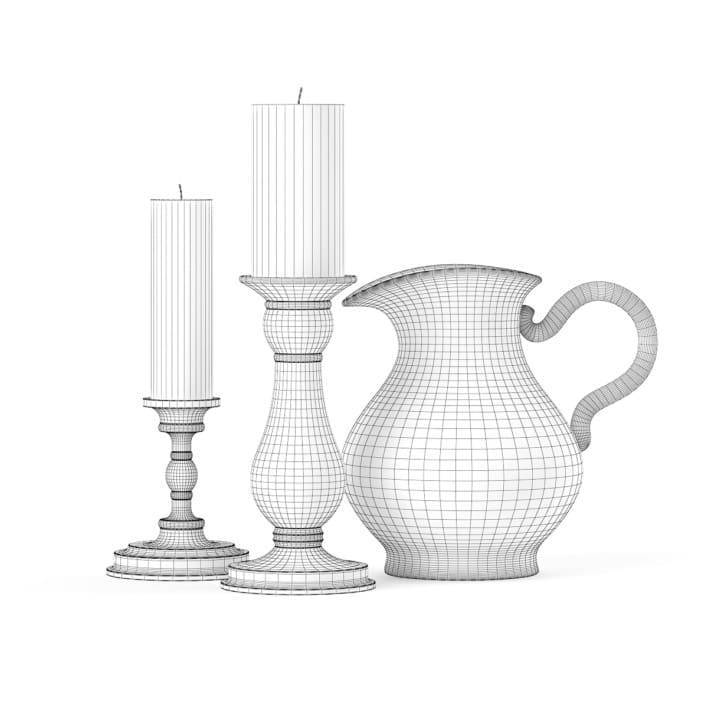 3d Two Candles and a Jug
