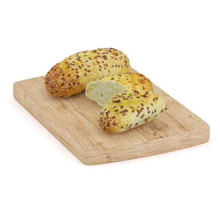 Buns with Sesame Seeds on Wooden Board