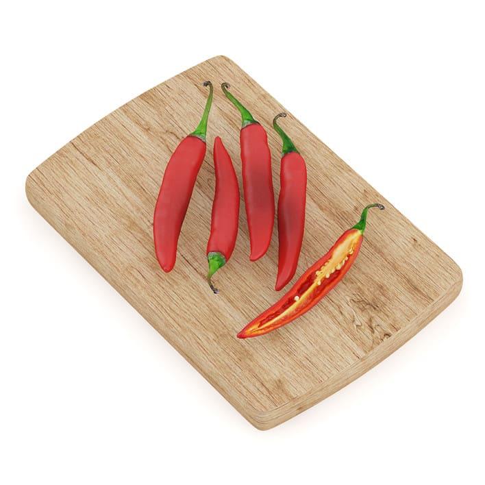 Chilli Pepper on Wooden Board