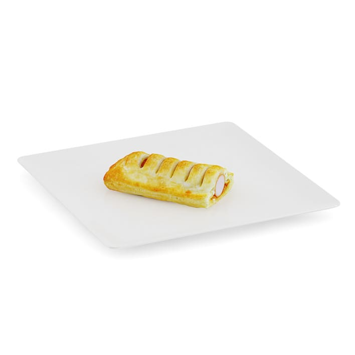 Slice of Sausage Roll on White Plate