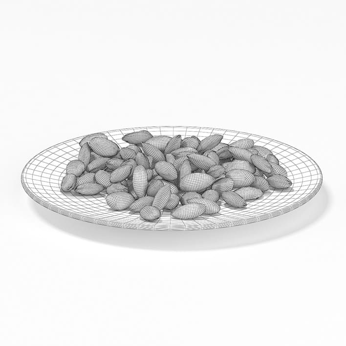 Almonds on White Plate