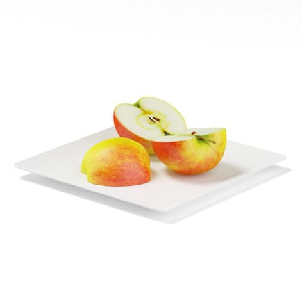 Sliced Apples on White Plate