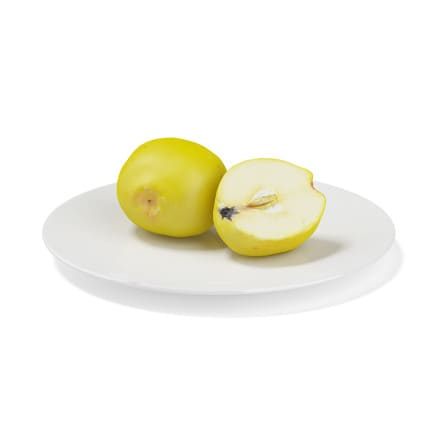 Quince on White Plate