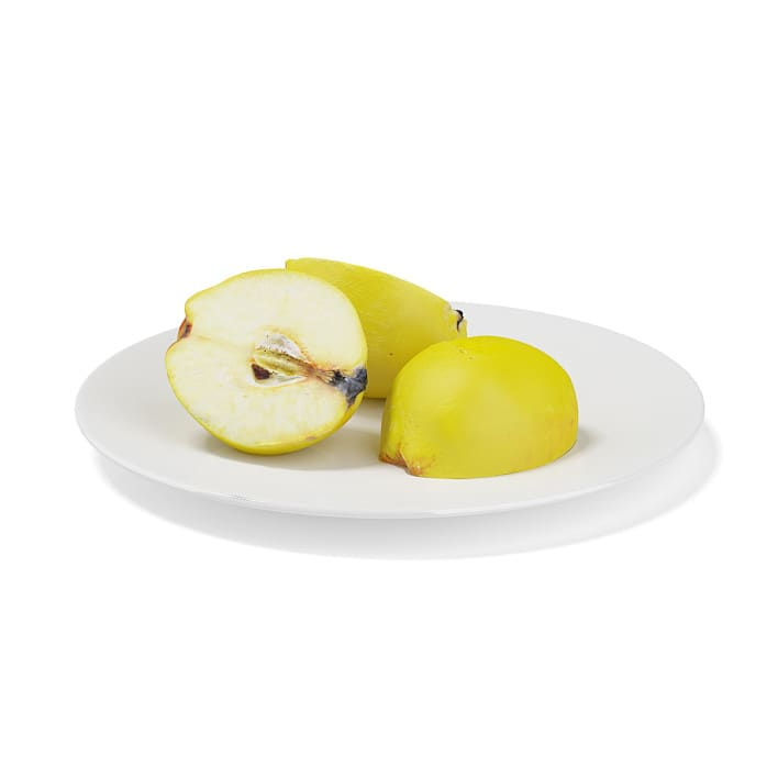 Sliced Quinces on White Plate