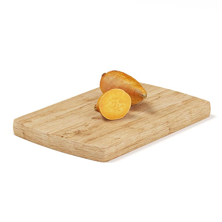 Cutted Yams on Wooden Board