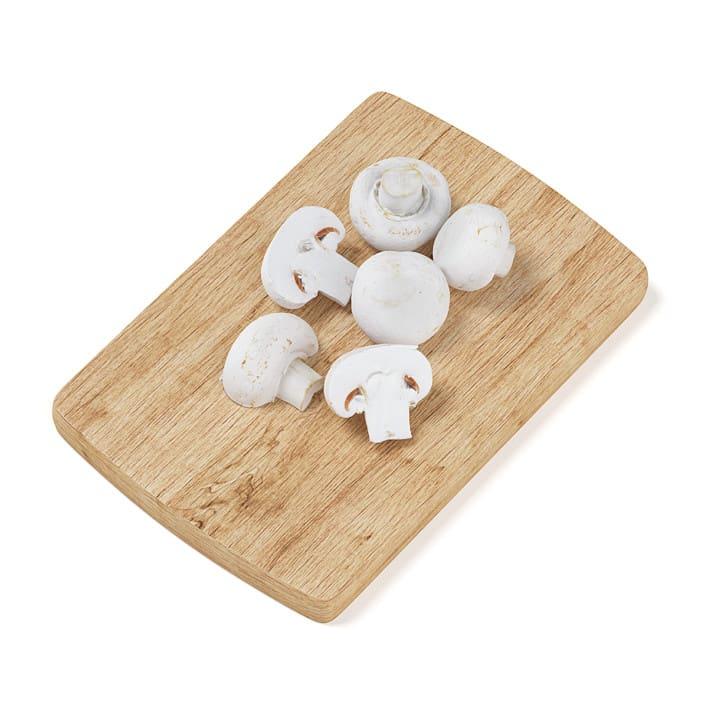 Sliced Mushrooms on Wooden Board