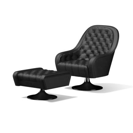 Leather Armchair with Footrest
