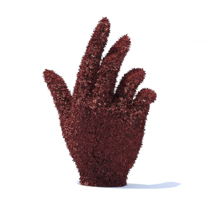 Hand Shaped Red Hedge 3D Model