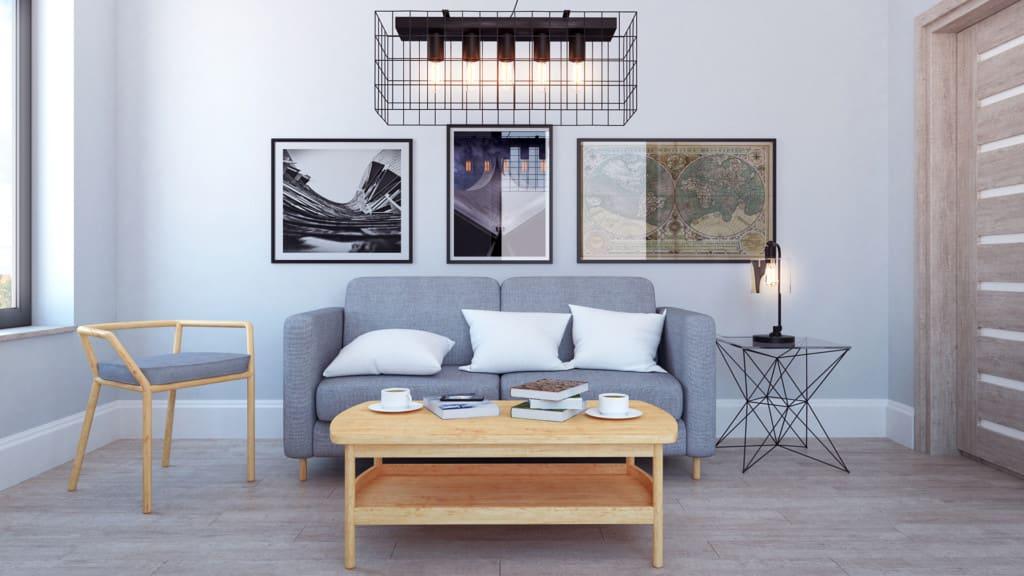 Scandinavian Living Room 3D Scene