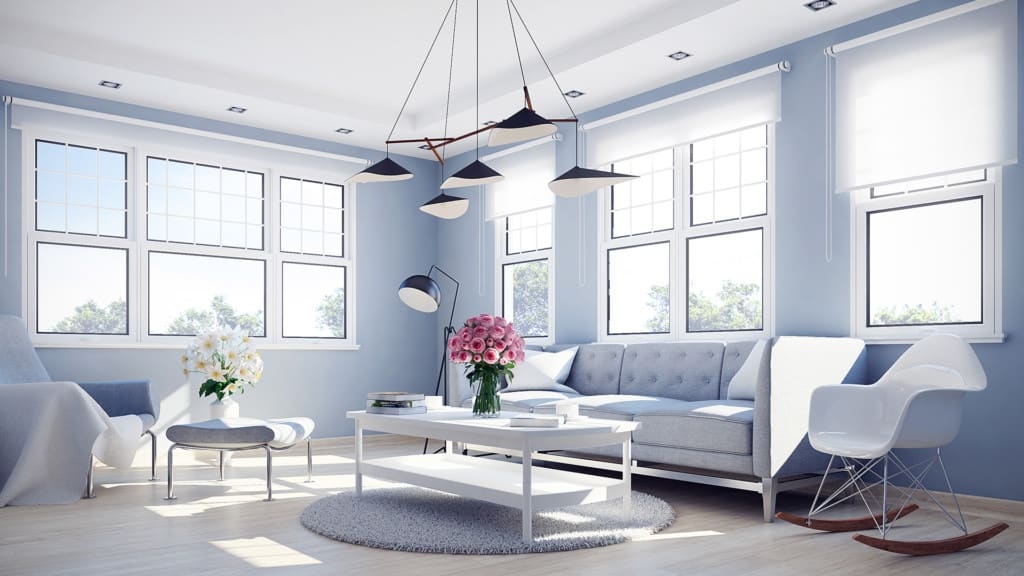 Grey Living Room 3D Scene