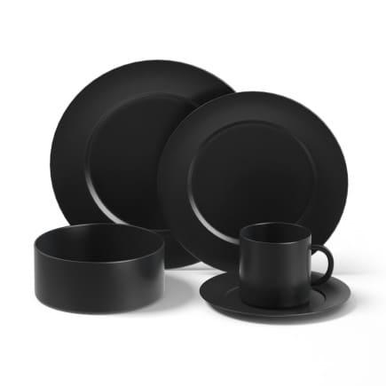 Black Dishes Set 3D Model