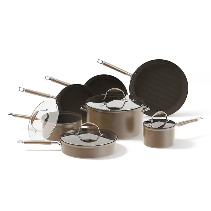 Brown Pots Set 3D Model