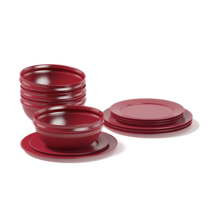 Red Dishes Set 3D Model
