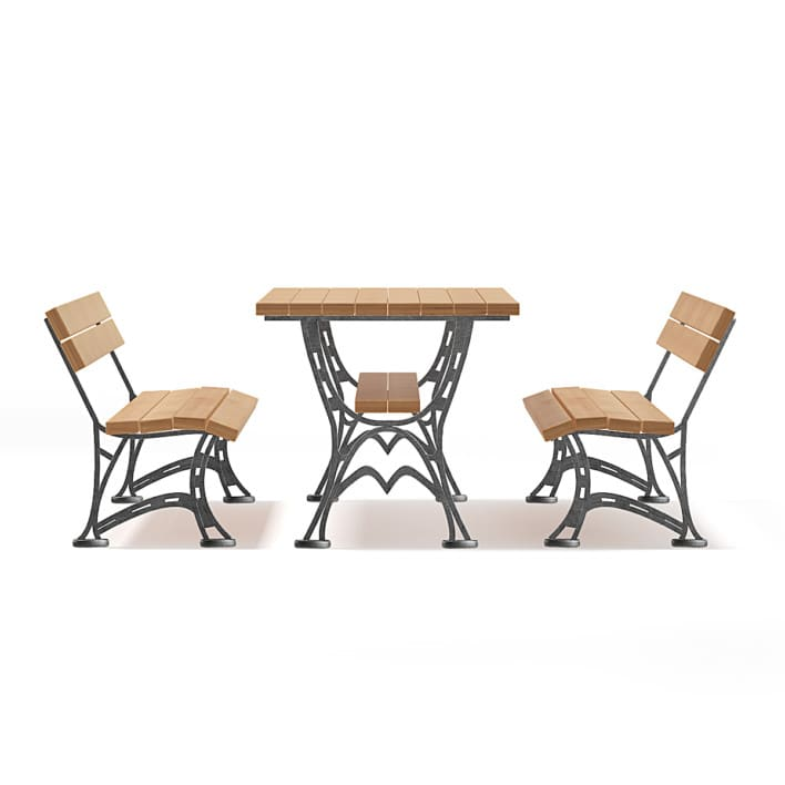 Table and Benches 3D Model