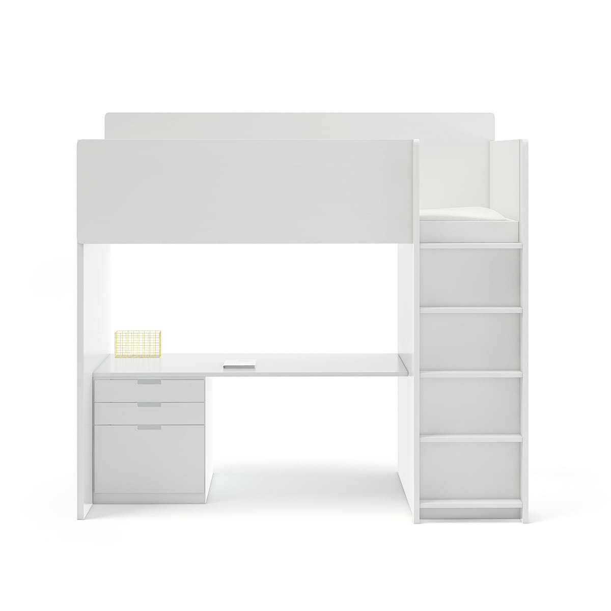 White Bunk Bed With Desk Cgaxis 3d Models Store